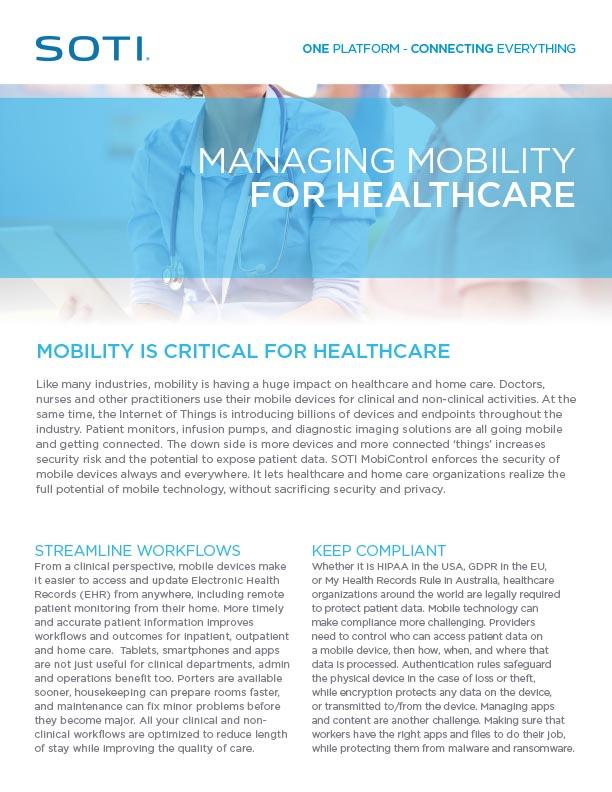 MobiControl for healthcare document screenshot