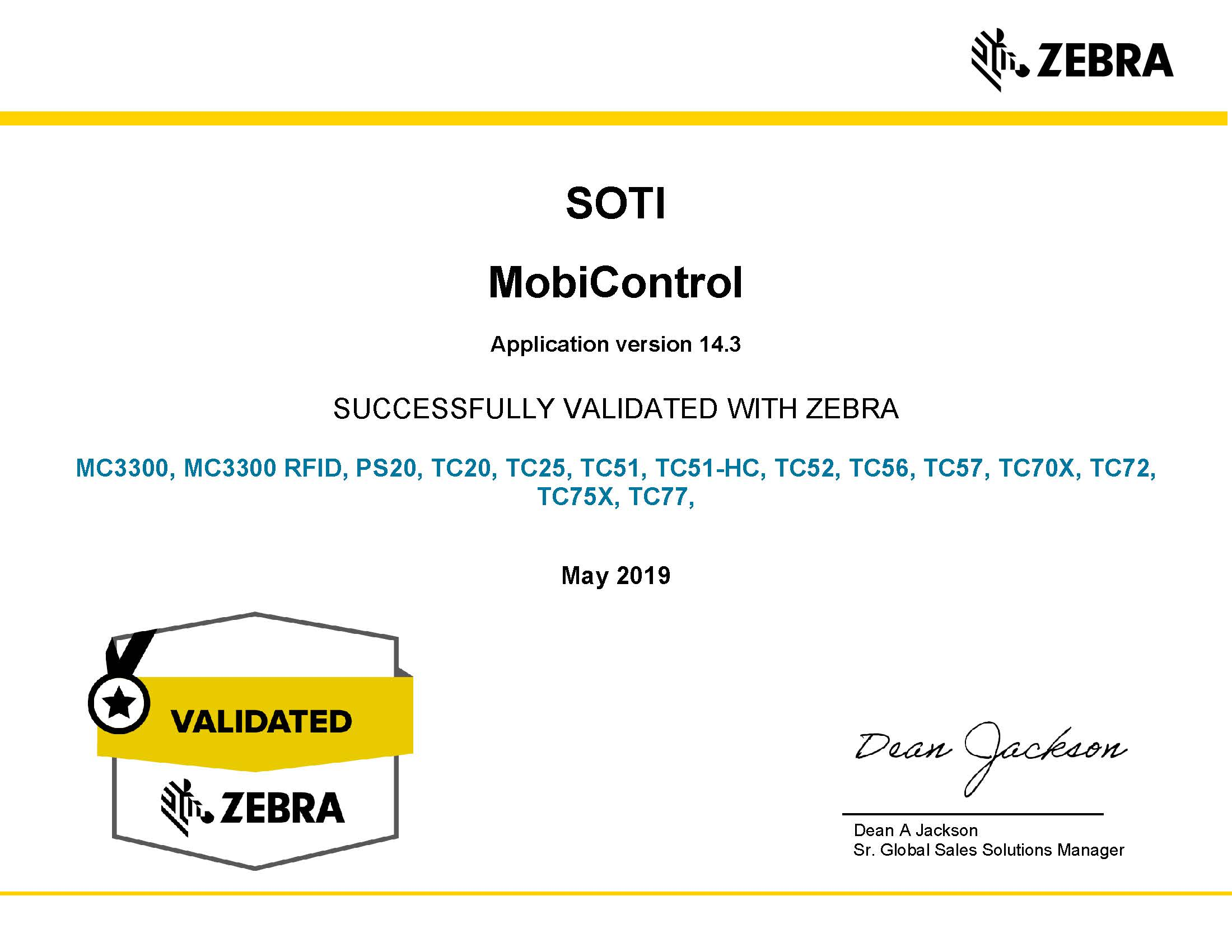 SOTI MobiControl v14.3 is successfully validated with Zebra Solutions